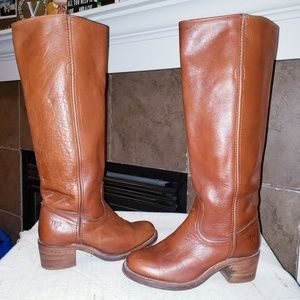 FRYE TALL LEATHER HEEL BOOTS